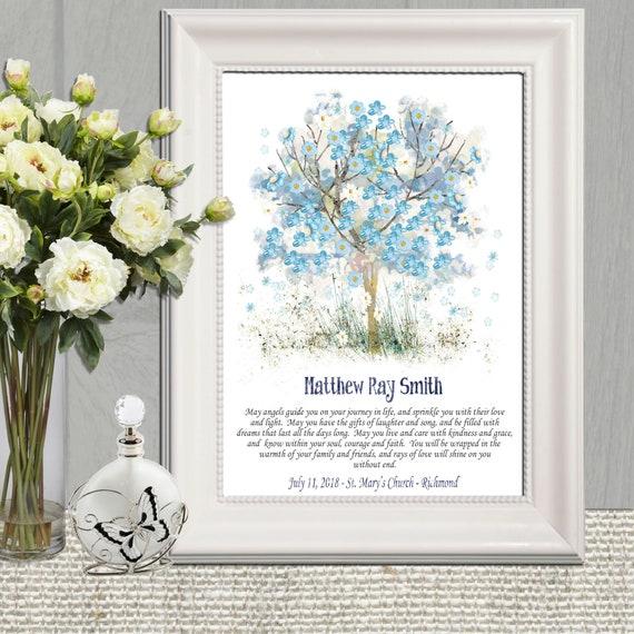 Baptism Gift Boy Printable Tree Baptism Art Personalized Blue Nursery Wall Art Boy From Godmother Gift Godson Gift Custom Christening Gift