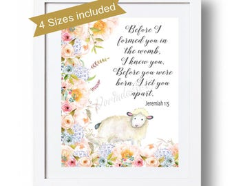 Baby Girl Christian Printable Blue blush Coral Floral Christian Lamb Print Watercolor flowers Bible verse Jeremiah 1:5 Before I formed you