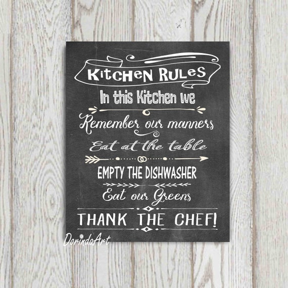 Kitchen Rules Sign Kitchen Printable Wall Art LARGE Kitchen