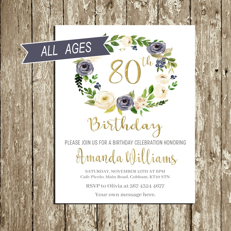 Birthday Invitations For Woman Blue And Gold