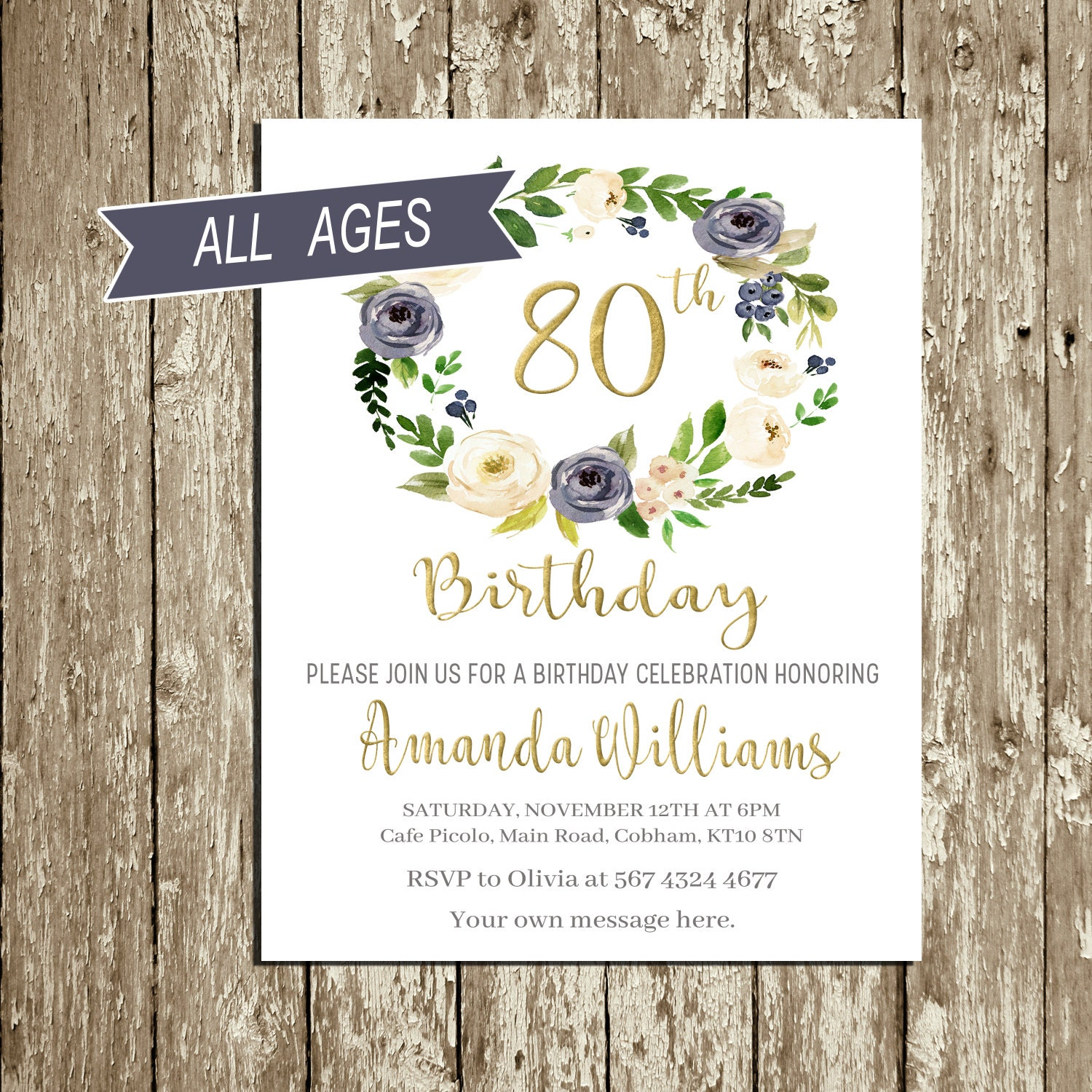Birthday Invitations For Woman Blue And Gold Birthday