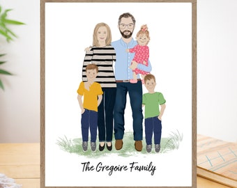Christmas Gift, Personalized family portrait illustration with dogs, cats, Couple gift, Family Gift for wife, Distance Gift, Gay couple gift