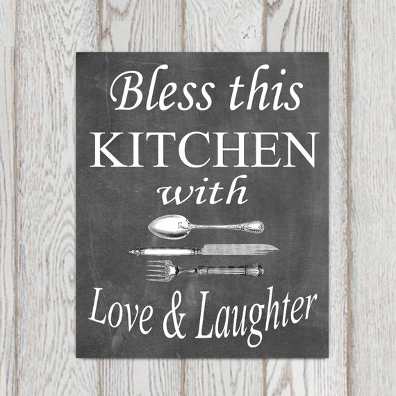 Kitchen decor Chalkboard Kitchen wall art Kitchen ideas Kitchen quotes  Bless this kitchen with love Black Typography Mothers day DOWNLOAD