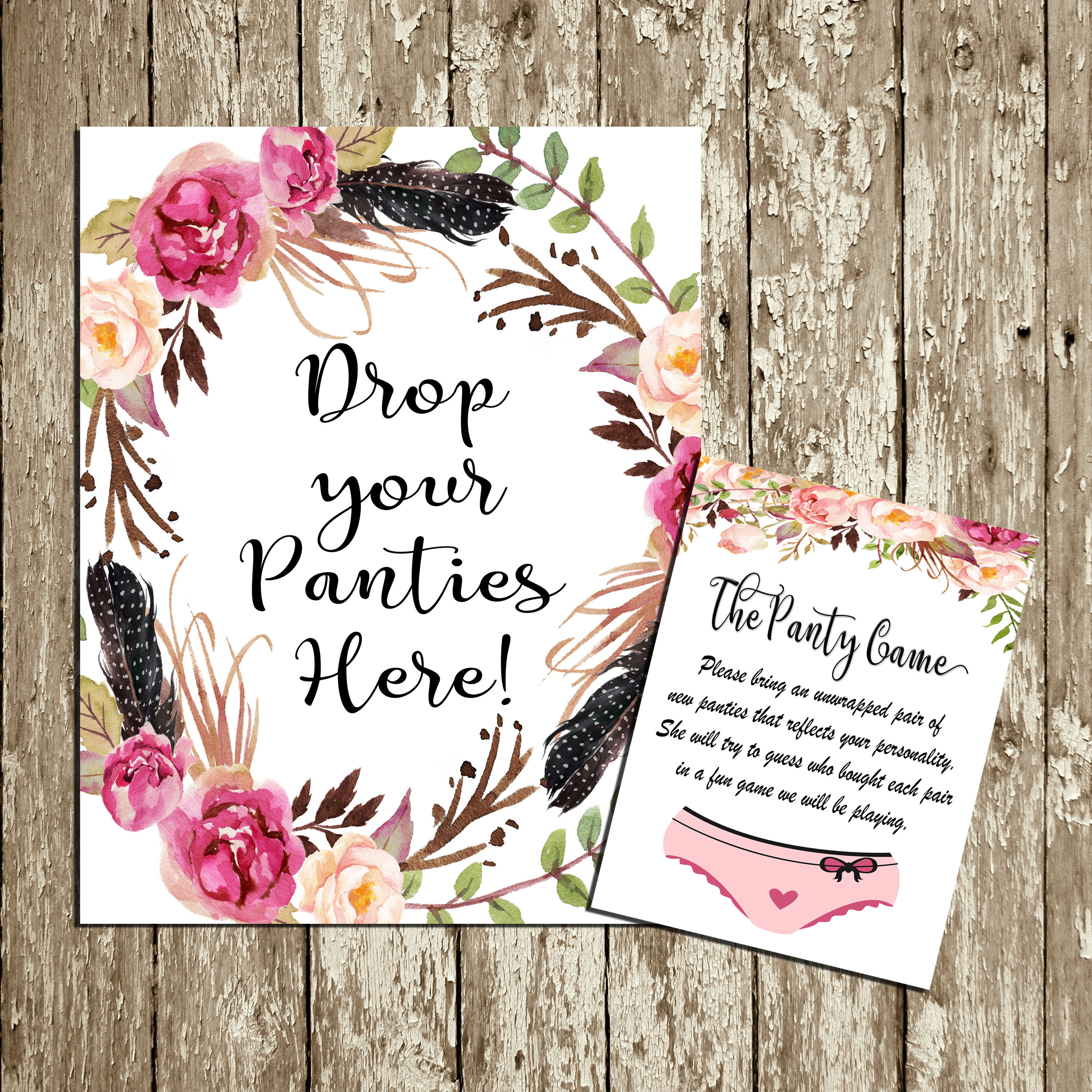 Drop Your Panties Here Printable Boho Lingerie Sign Panty Game Etsy