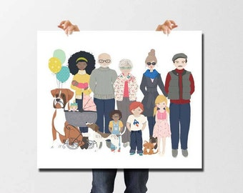 Personalized gifts for dad, Family portrait illustration, Personalized Family gifts, Gifts for Mom, Gifts for her, Gifts for Grandparents