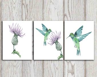Hummingbird art, Humming bird print, 3 piece wall art Thistle Wall decor, Hummingbird decor, Hummingbird gifts, Bird art, Bird wall decor