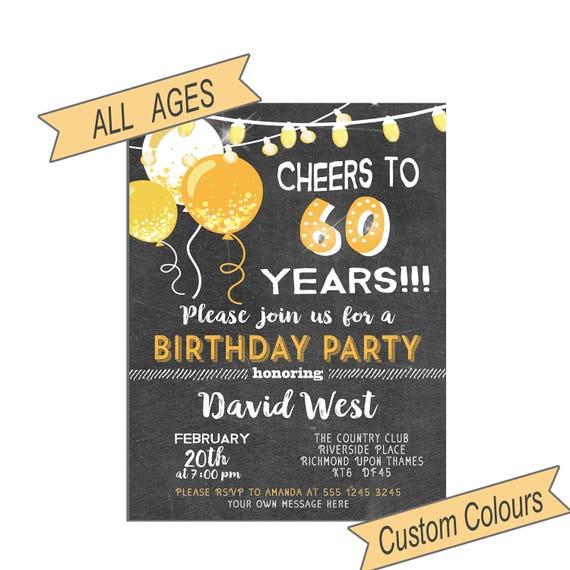 Birthday Invitation For Men 60th Birthday Party Invitation