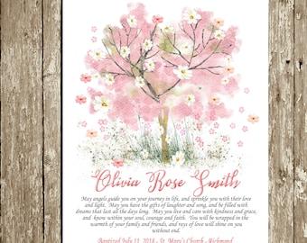 Baptism Gift Girl Printable Tree Baptism art Personalized Pink floral Christening Gift Baptism gift for goddaughter Digital Irish Blessing