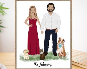 Custom Family portrait illustration, Wedding Gift, Family illustration from photo Personalized Family gift Printable Custom Portrait Drawing