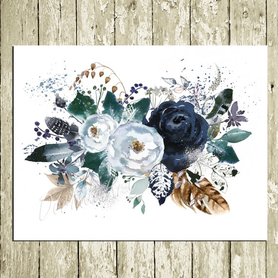 Navy Watercolor Flower Wall Art Printable Floral Wall Art Etsy