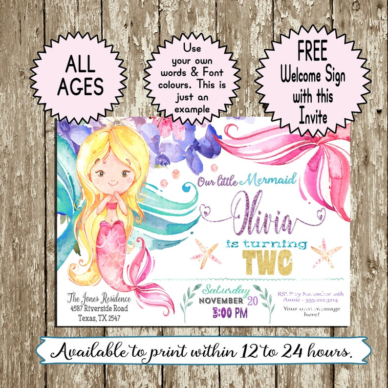 Mermaid Birthday Invitation Watercolor Printable Pink Purple