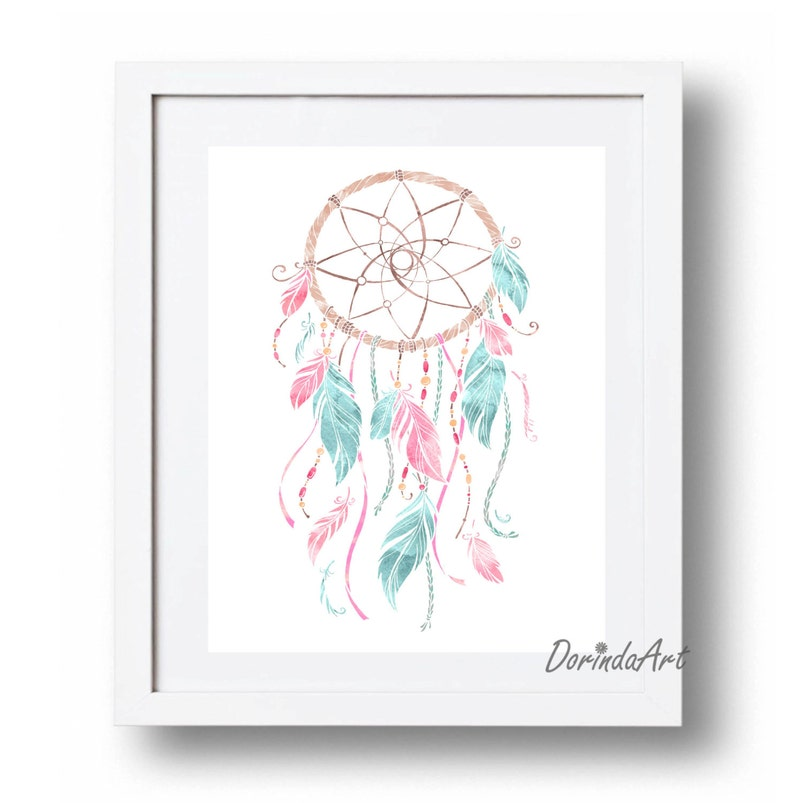 image about Dream Catcher Printable named Dreamcatcher Print Desire Catcher printable Blue and Purple and aqua nursery Wall Artwork Boho Poster Down load Indigenous The us Tribal 11x14 16x20