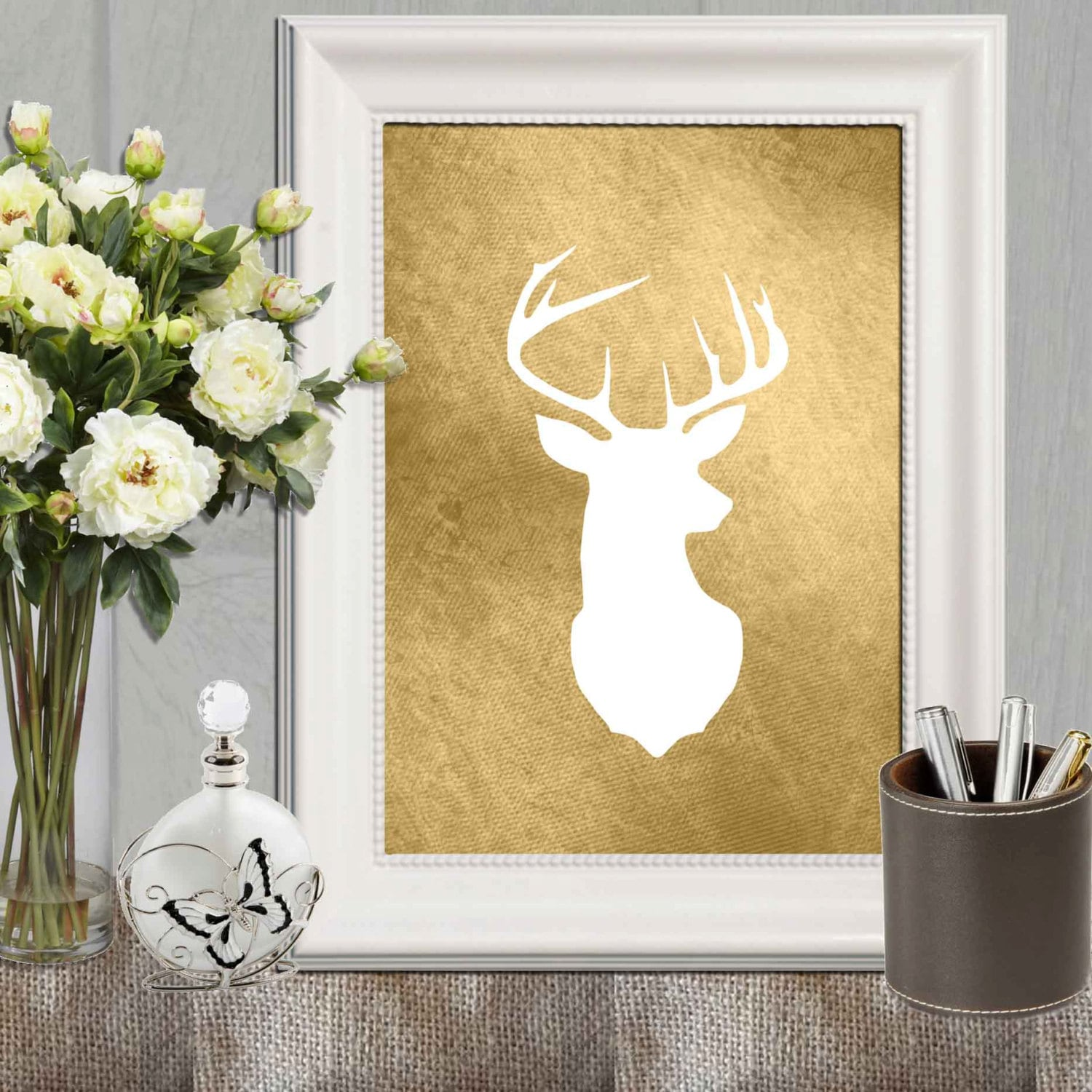 Gold Deer Print Gold Stag Gold Print Gold Wall Art Stag