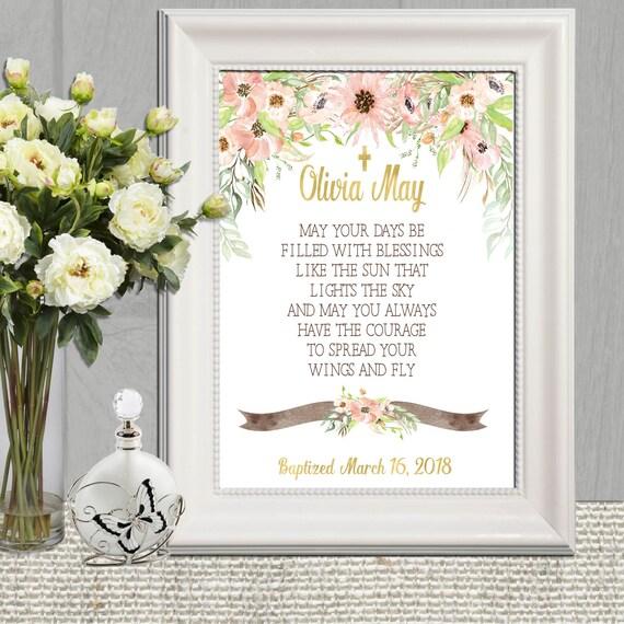 Personalisierte Taufe Mädchen Blumen Aquarell Taufe Dekoration Taufe Geschenk Für Patenkind Rosa Und Gold Grün Taufe Wand Kunstdruck
