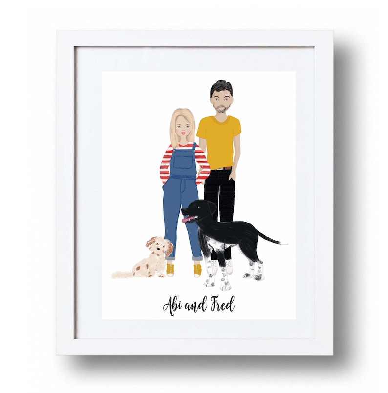 Custom Family portrait illustration Wedding Gift Family image 0