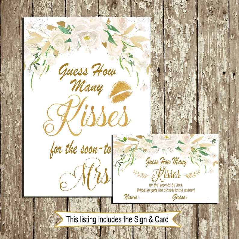 It is a picture of Invaluable Guess How Many Kisses for the Soon to Be Mrs Free Printable