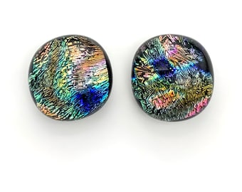 Wire Wrap Cabs DIY Jewelry Earrings Blue Silver 10mm-12mm Green 24 12 pair Mosaics Chartreuse Fused Dichroic Glass Cabochons