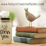 Farmhouse Decor - Valentine Gift - Mason Jar Tissue Holder - Tissue Dispenser - Teacher Gift - Tissue Jar - Christian Decor - Bless You Jar