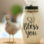 Farm Decor - Tissue Holder - Mason Jar Tissue Holder - Tissue Dispenser - Teacher Gift - Tissue Jar - Kleenex Holder - Bless You Jar