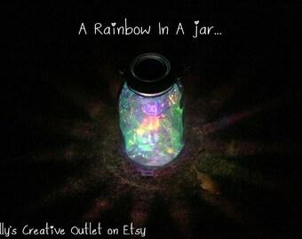 Mason Jar Solar Light   Fairy Lantern   Garden Decororation   Outdoor  Lighting   Fairy Jar   Whimsical Decor   Rainbow