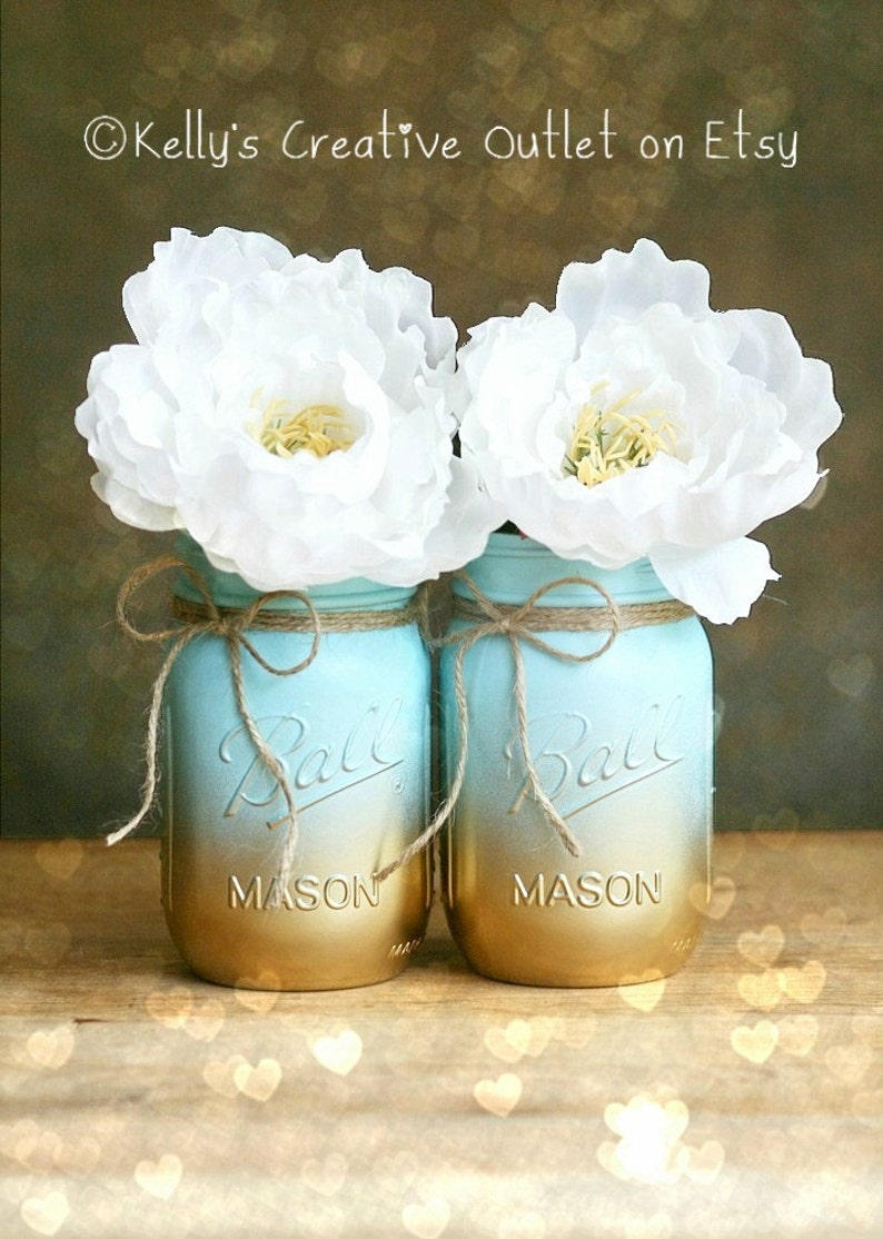 Painted Mason Jar  Vase  Home Decor  Wedding Centerpiece  image 0