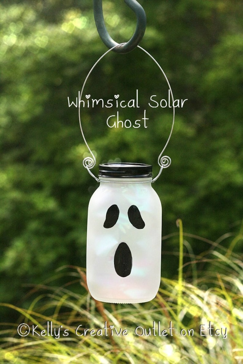 Solar Mason Jar  Halloween Decorations  Solar Ghost  image 0