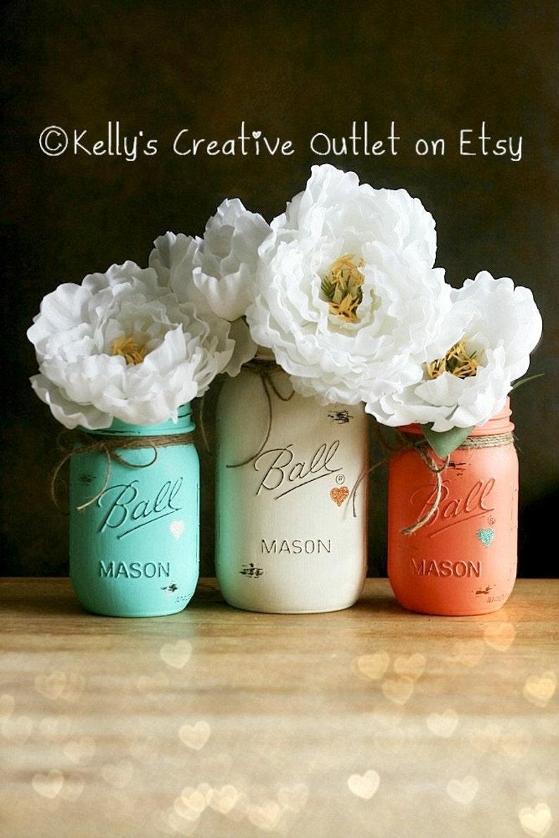 Cream Coral and Teal  Painted Mason Jar  Distressed Mason image 0