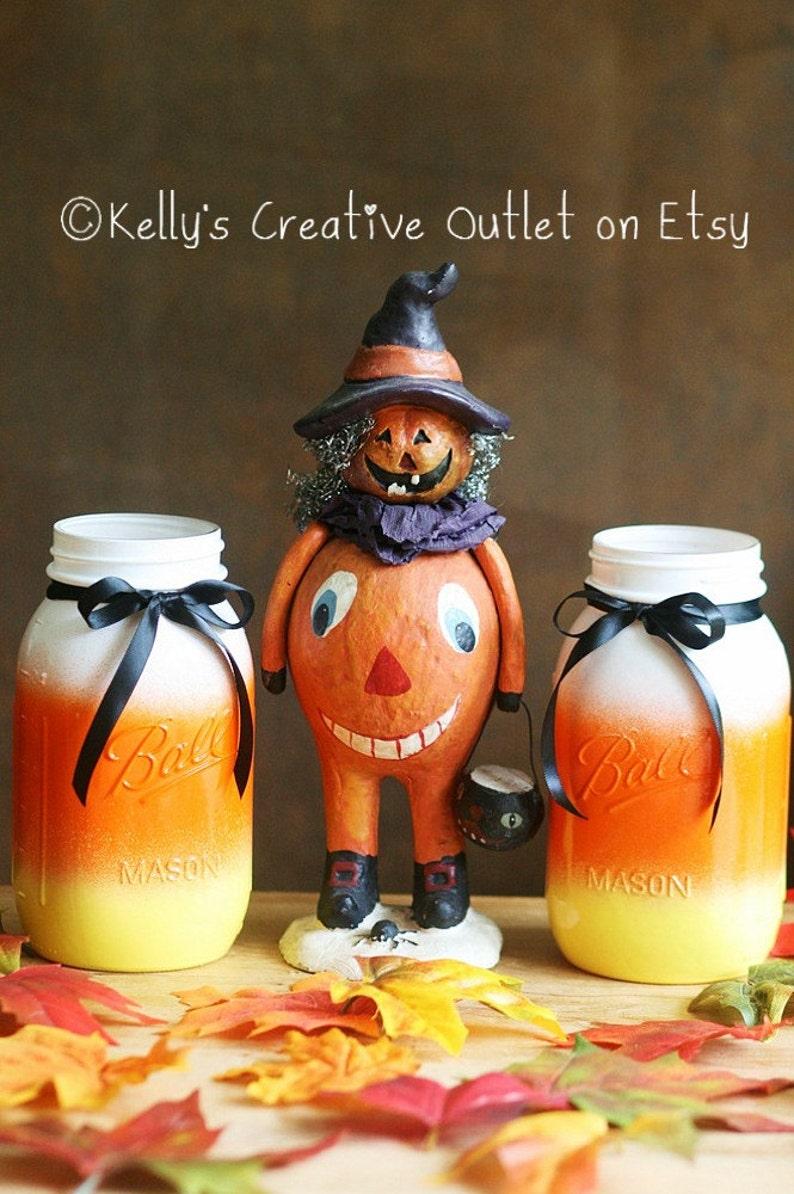 Halloween Decoration  Candy Corn Mason jar  Mason Jar  image 0