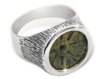 Ancient coin ring-Ancient coin jewelry, Widow's mite type coin set in sterling silver ring.