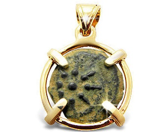 Ancient coin pendant-Ancient coin jewelry-Ancient coin pendant-Widow's mite coin-14k yellow gold.FREE SHIPPING.