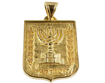 Men jewish pendant-Jewish jewelry-Unique jewish jewelry-Emblem of Israel pendant in 14k solid yellow gold.FREE SHIPPING.