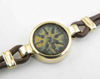 Ancient coin bracelet-Ancient coin jewelry-Ancient coin bracelet-14k yellow gold and leather cord bracelet-Authentic widow's mite coin.
