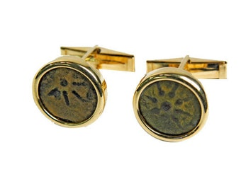 Ancient coin cufflinks-Ancient coin jewelry 14k gold cufflinks set with authentic widow's mite coins of very fine quality.FREE SHIPPING.