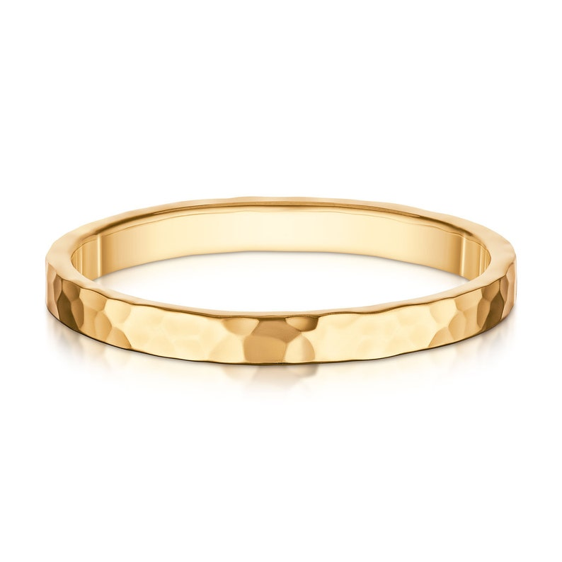 Yellow gold 14k solid gold wedding ring-Comfort fit wedding band--Handmade-2mm-Hammered shiny finish-Free shipping-Free engraving.