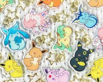 """Cute Chubby Eevee Eeveelution Kawaii Fox Baby Animal 2"""" Acrylic Keychain Charm"""