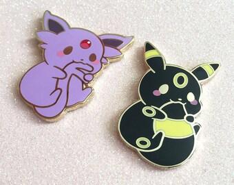 0506b5a60878 Cute Chubby Espeon Umbreon Eeveelution Kawaii Moon Psychic Dark Fox Animal  Hard Enamel Lapel Pin