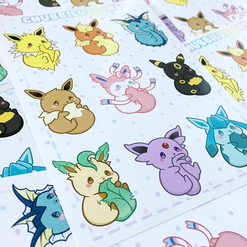 3fb6ea8535d Cute Chubbilutions Sticker Sheet Kawaii Eevee Journal Planner