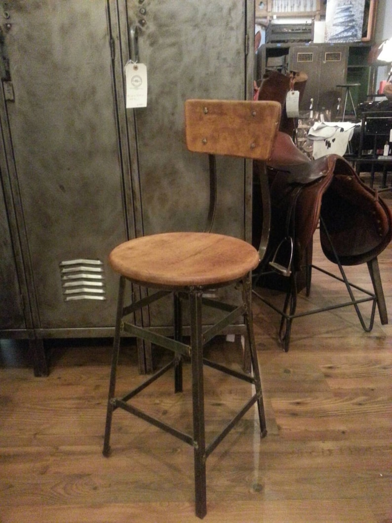 Vintage industrial factory stool image 0