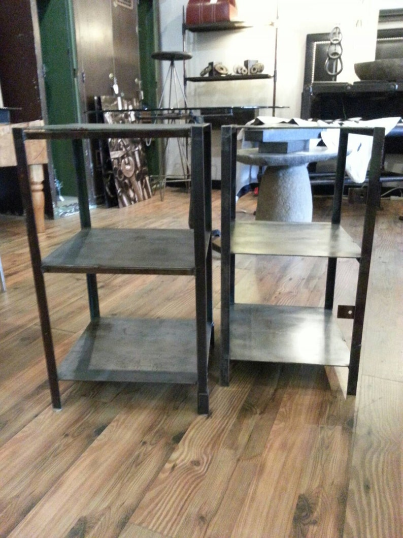 Pair of vintage industrial steel end tables with shelves image 0
