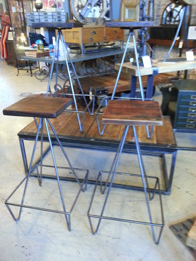 Set Of Bar Stools With Salvaged Wood Top image 0