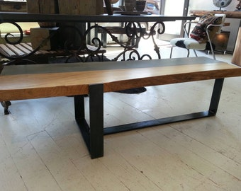 One of a kind concrete and live edge elm coffee table