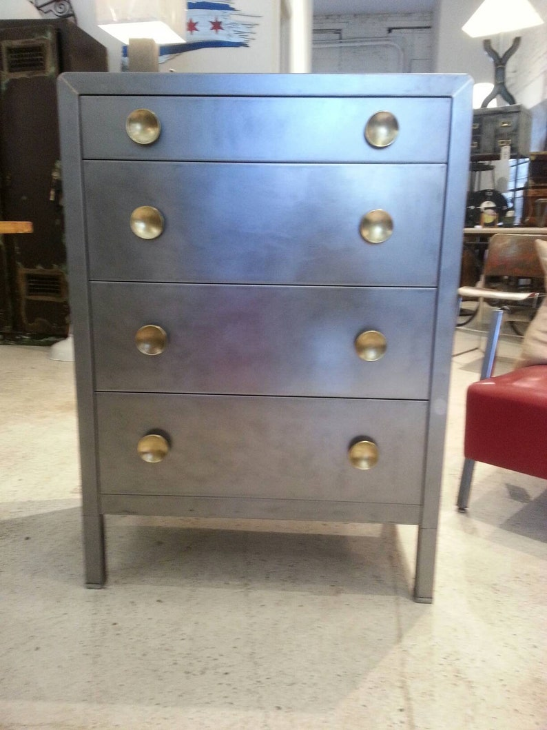 Vintage industrial stripped steel Simmons chest of drawers image 0