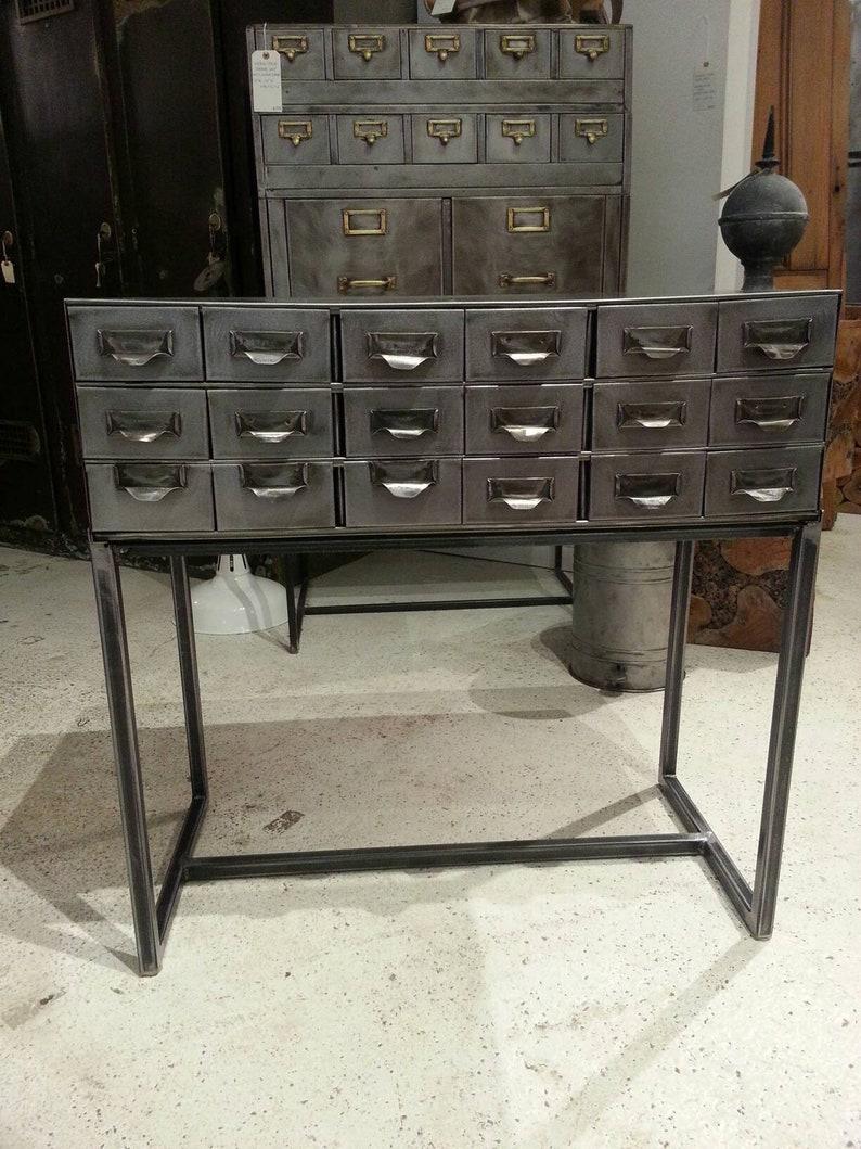 Vintage industrial stripped steel shop cabinet / sofa table image 0
