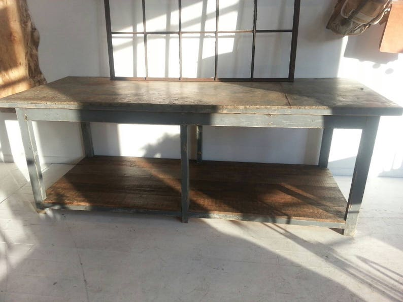 Antique industrial European zinc topped worktable image 0