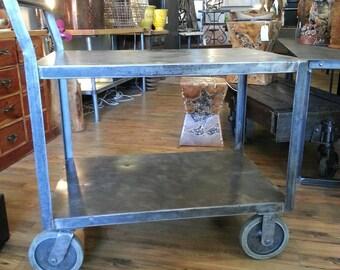 Vintage industrial stripped steel bar cart