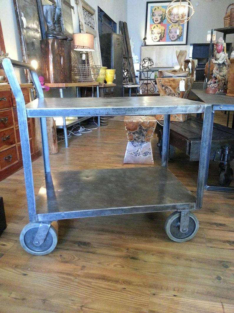 Vintage industrial stripped steel bar cart image 0