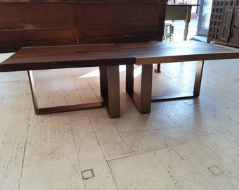 Pair of walnut end tables