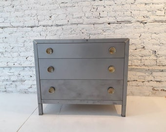 Vintage industrial stripped steel deco Simmons chest of drawers
