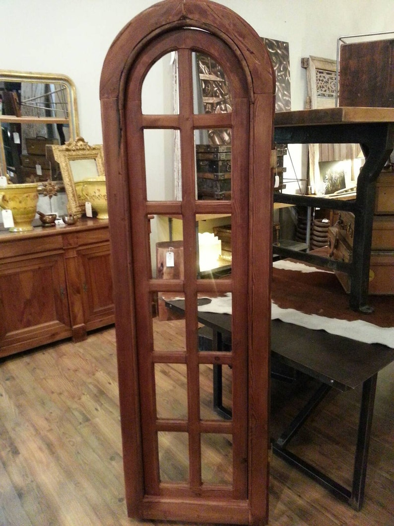 Antique arch top pine window frame. image 0