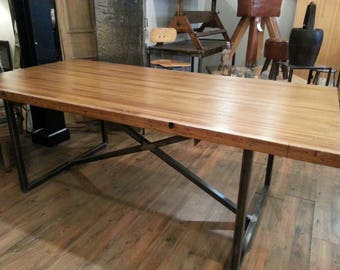 Vintage salvaged repurposed bowling alley dining table
